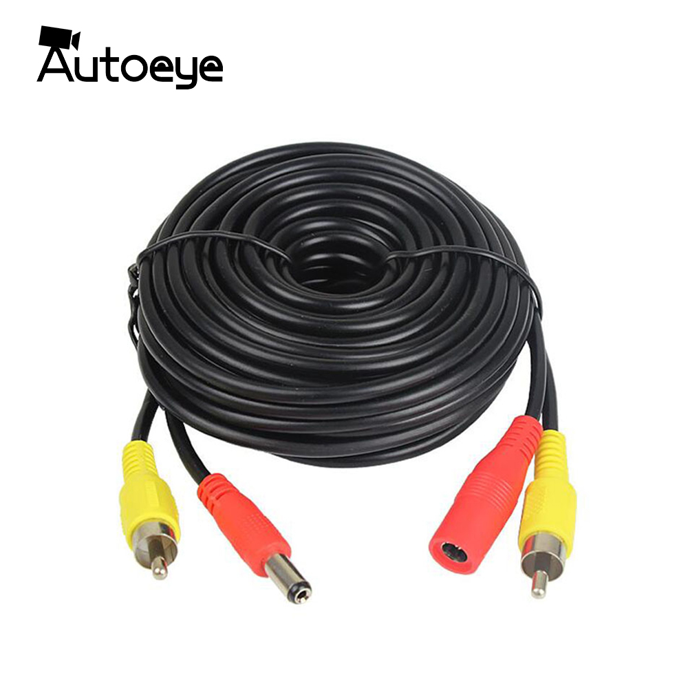 Autoeye 20M 10M 5M RCA Cable The Audio Cable Video Power AV Black Cable For DVR CCTV Security Surveillance Camera