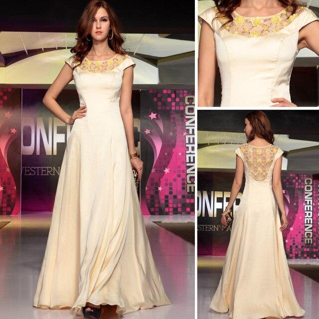 Dorisqueen Long Evening Dress 2015 Dress Party Evening A-Line Beaded Flower Evening Dresses Formal Dress Vestido De Fiesta 30703
