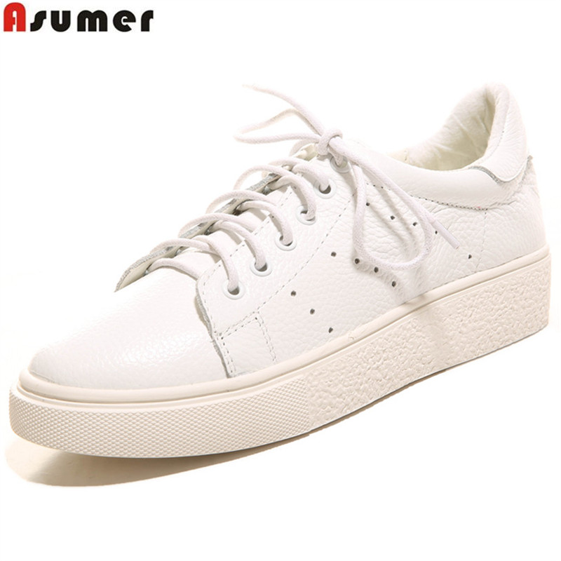ASUMER white fashion spring autumn shoes woman round toe lace up casual comfortable flat with women genuine leather flats asumer black fashion spring autumn ladies shoes round toe lace up casual women flock cow leather shoes flats