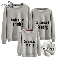Lanmaocat Family Look Matching Hoodies Dad Mommy and Me Clothes Personal Design Printed Warm Matching Outfit Cloth Free Shipping
