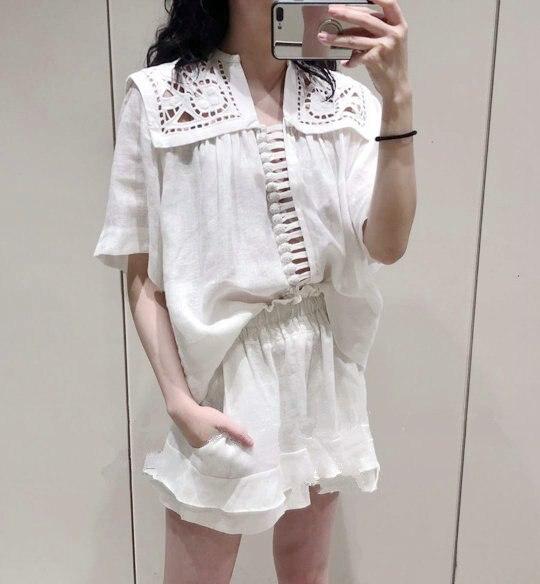 Women Shirt 0019 Summer New Fresh Embroidered White Short Sleeve Cotton Shirt