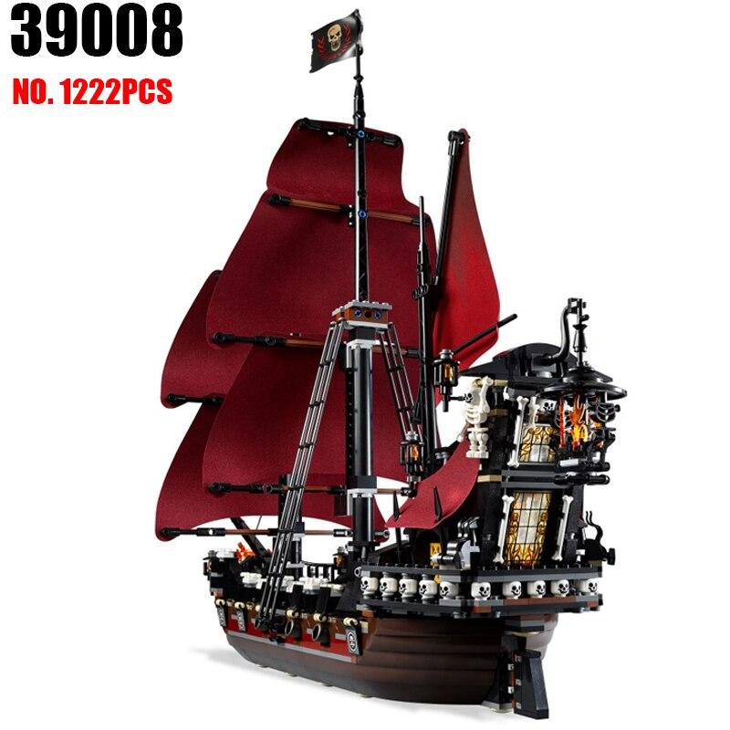 Новые 39008 Пираты серии Queen аннес месть модель здания Конструкторы комплект Совместимость 4195 классические пиратский корабль Игрушечные лоша...