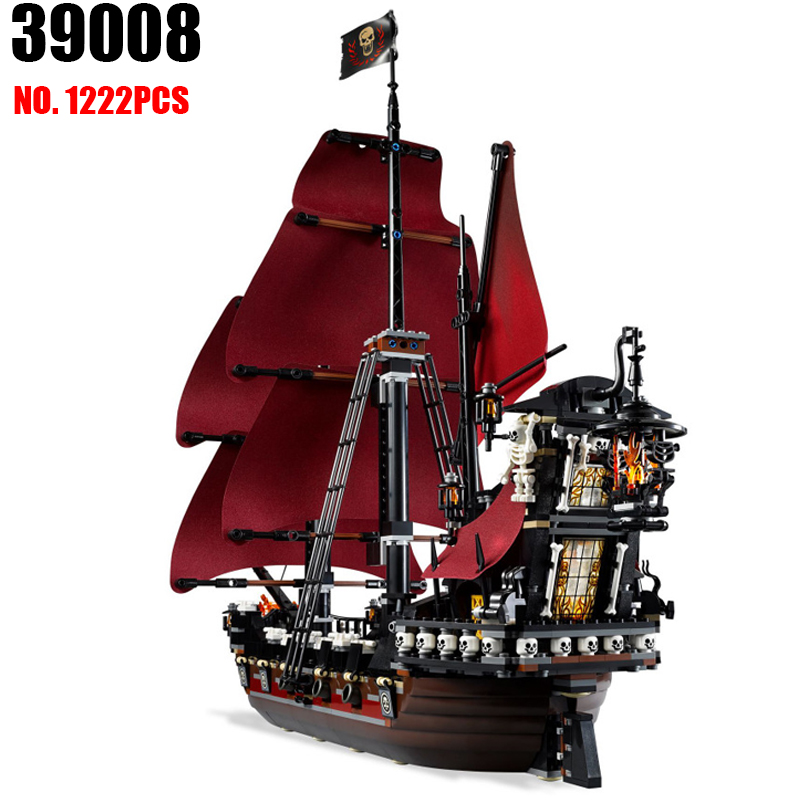 New 39008 Pirates series The Queen Annes Revenge model Building Blocks set Compatible 4195 classic Pirate Ship Toys for children free shipping new lepin 16009 1151pcs queen anne s revenge building blocks set bricks legoinglys 4195 for children diy gift