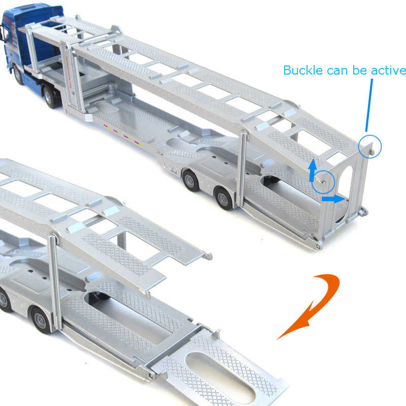 Alloy Diecast Double-Deck Car Transporter Flat-Bed Trailer Truck 1:50 Platform Vehicle Model Toys Hobby For Kids Christmas Gift