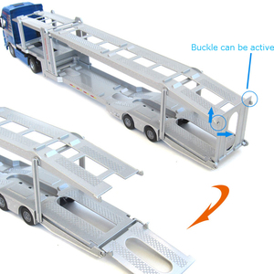 Image 5 - Transporteur de voiture à deux étages et camion remorque, en alliage moulé, plate forme 1:50, modèle de véhicule, jouets, cadeau de noël pour enfants
