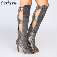 Sorbern Knee High Boots Women Summer Gothic Heels New Rock Boots 43 Sexy Shoe Autumn High Heels Open Toe Cut Out Shoes Ladies