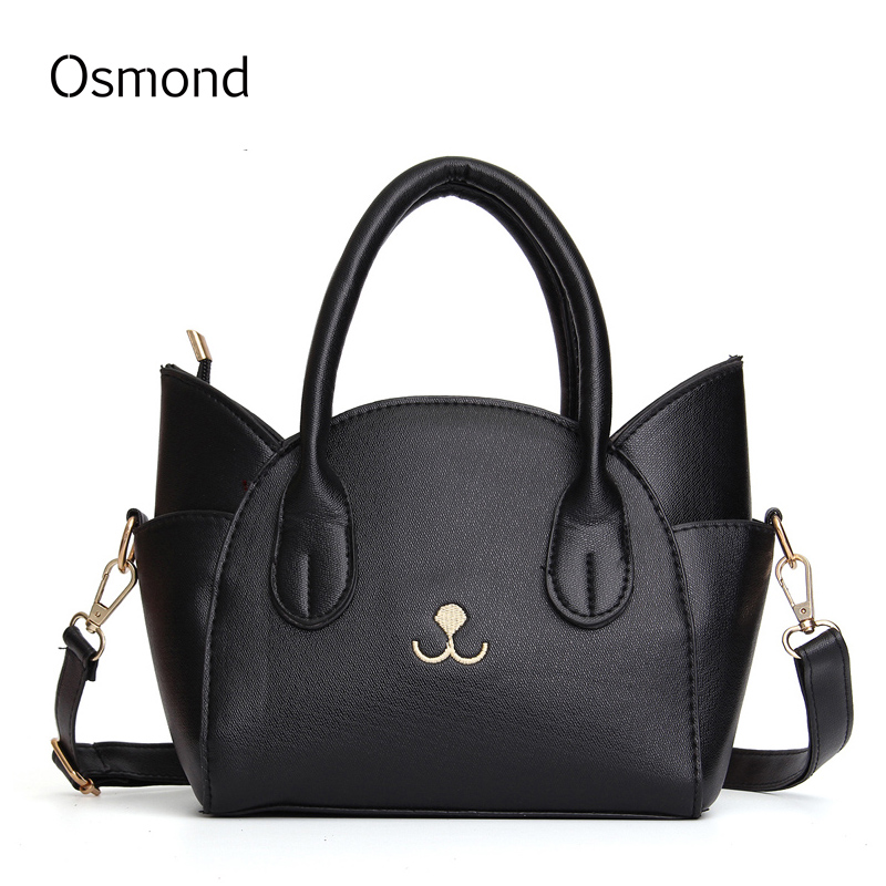 Osmond Cute Cat Women Leather Handbags Crossbody Messenger Bags Solid Shoulder B