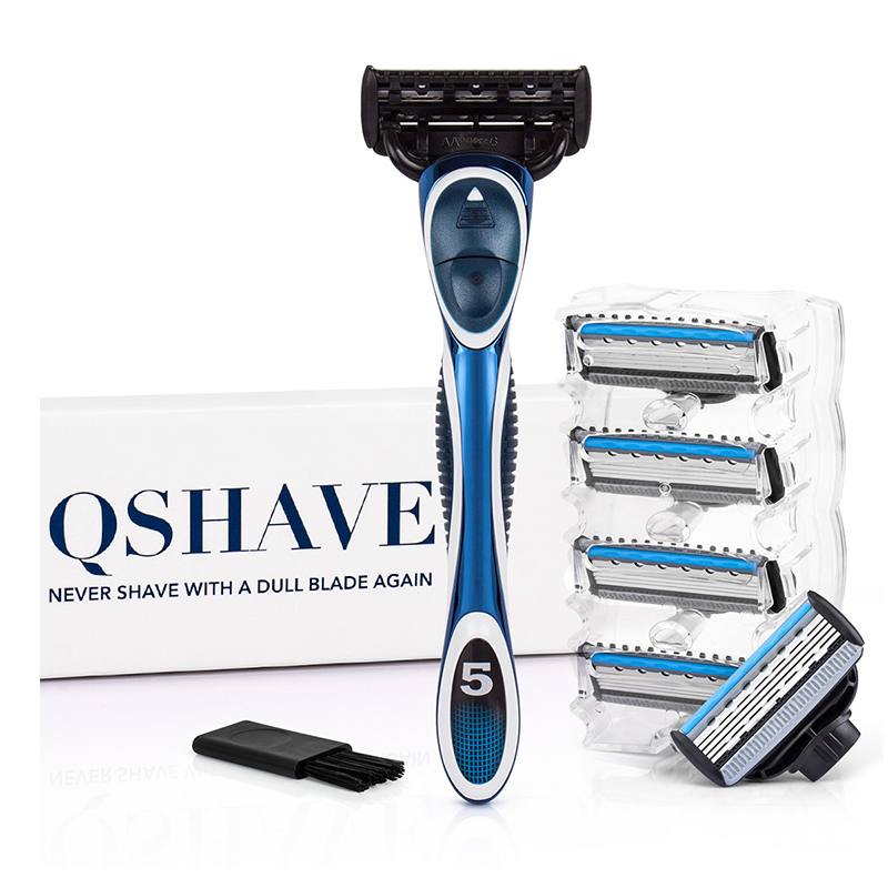 QShave Blue Series 5 Layer USA Blade Manual Razor Mens Shaving Razor With 6 Pieces X5 Blade And Each Piece Has Trimmer Blade