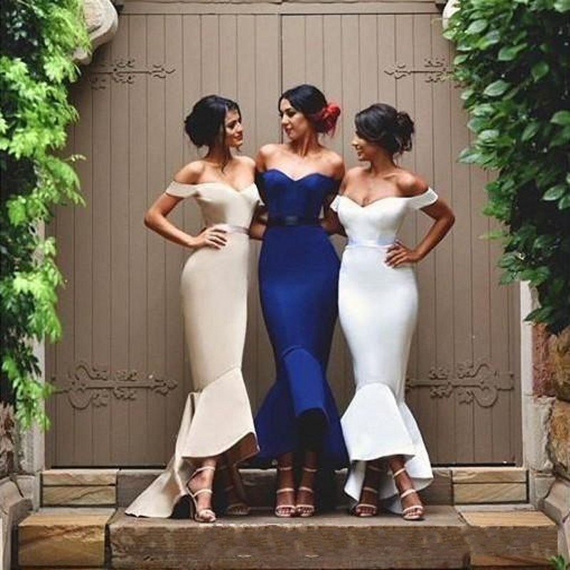 8b2ebe6baf Tea Length Country Bridesmaid Dresses Mermaid Off Shoulder Backless Sexy  Maid of Honor Wedding Guest Dress Cheap