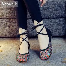 Veowalk el yapımı moda bağbozumu kadın eski pekin bale daireler bayanlar nakış yumuşak taban dantel up rahat ayakkabılar zapatos mujer