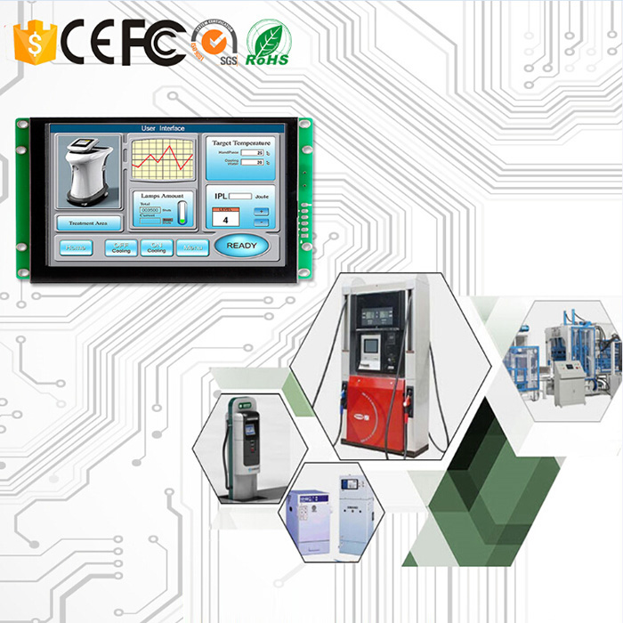 7.0 Inch LCD HMI with Touch Panel and Control Board for Industrial Use Support Any MCU