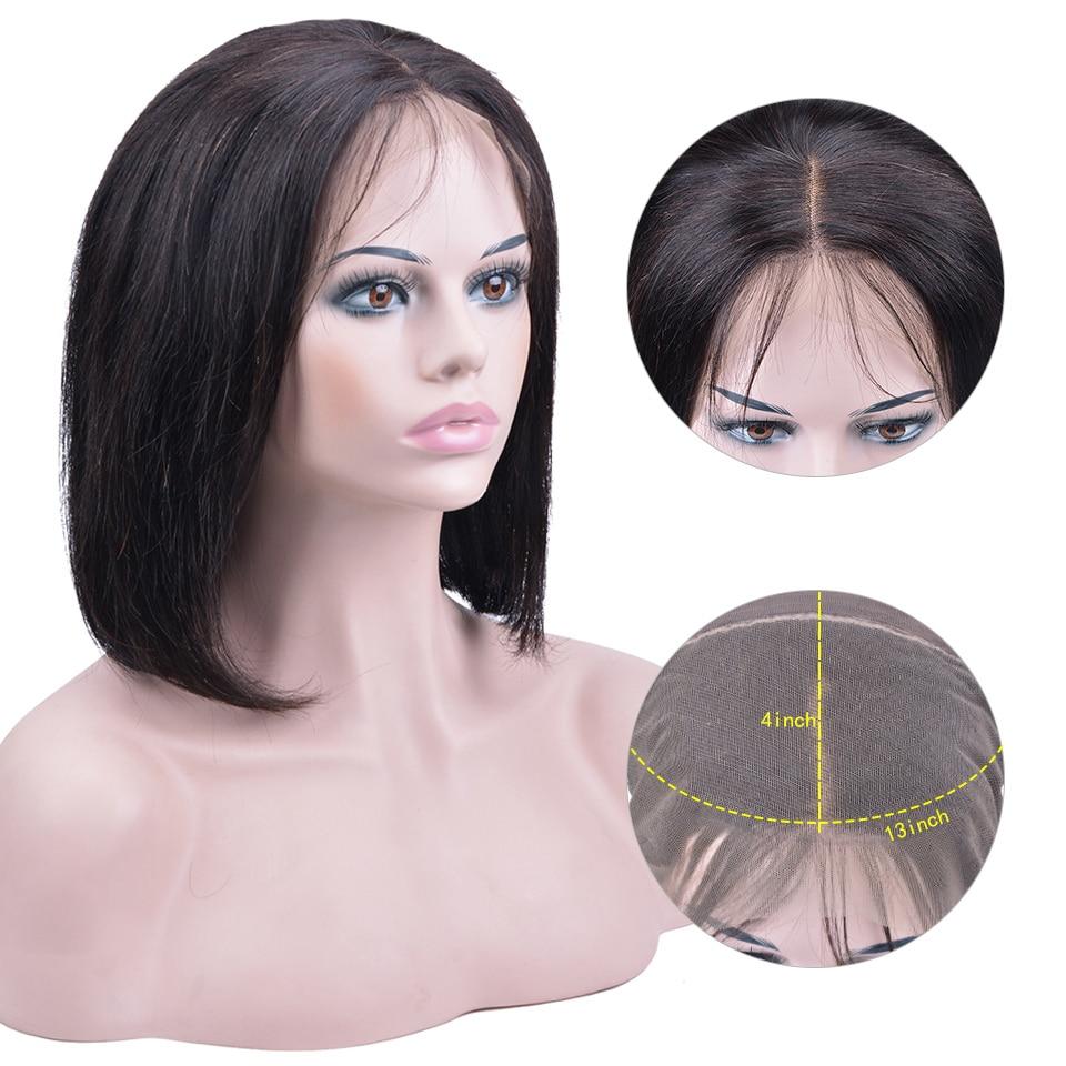 13 × 4 レースフロント人毛ウィッグ女性ペルーの Remy 人間の毛髪ストレートショートボブのかつら漂白ノット 150% Densty  グループ上の ヘアエクステンション & ウィッグ からの 人毛レースウィッグ の中 1