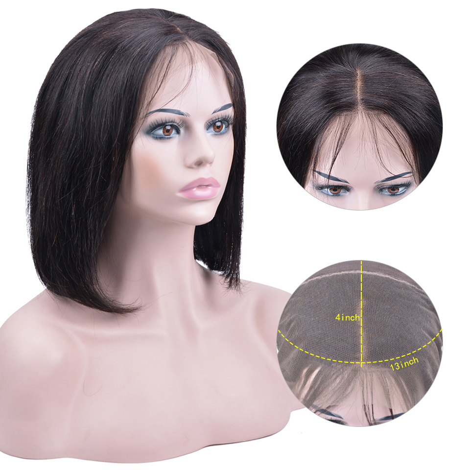 13x4 Lace Front Human Hair Wigs For Women Peruvian Remy Human Hair Straight Short Bob Wigs Bleached Knots 150% Densty