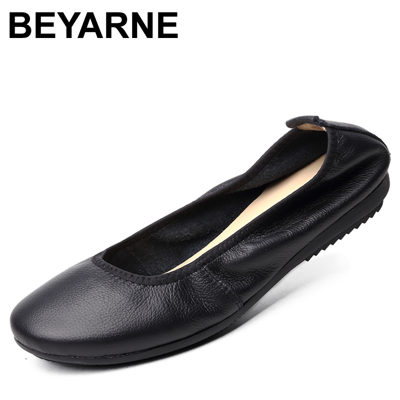 972476f3f690 BEYARNE Fashion Brand Women Shoes Leather Ballerina Ballet Flats Foldable  And Portable Travel Pregnant Shoes For