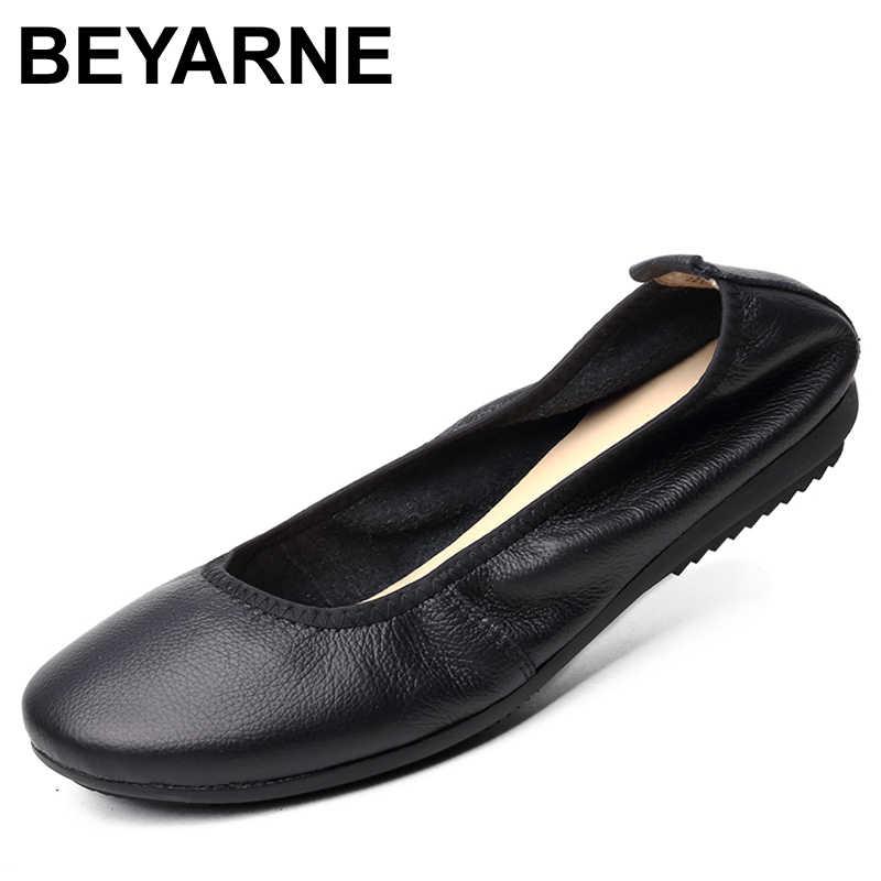 BEYARNE zapatos de mujer de marca de moda Zapatos de Ballet de bailarina de cuero zapatos de viaje plegables y portátiles para embarazadas para Boda nupcial