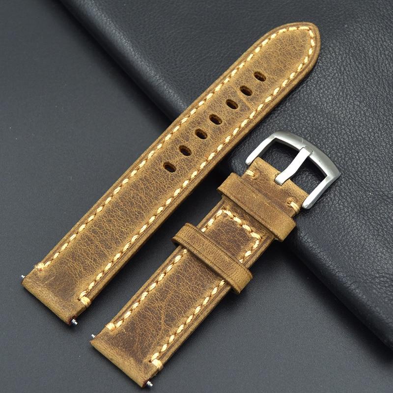 2017 Handmade Men 20MM 22MM Upscale Retro Brown Calfskin Leather Strap Retro Classic font b Casio