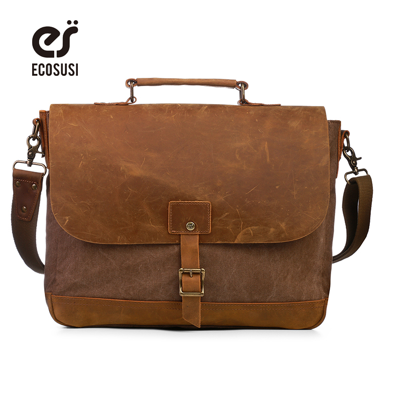 ecosusi Brand Men Laptop Messenger Bag Casual Shoulder Bag Canvas Patchwork Satchel Bag For Men Bags ecosusi brand men laptop messenger bag casual shoulder bag canvas patchwork satchel bag for men bags