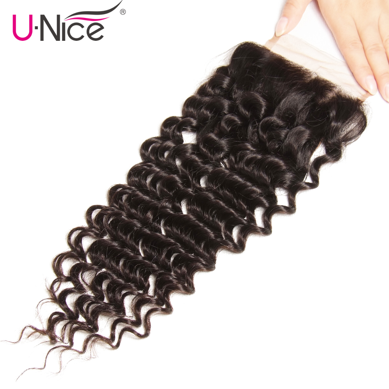 Unice Hair Peruvian Deep Wave Lace Closure 1 PCS Free Part Peruvian Remy Hair Bundles 100