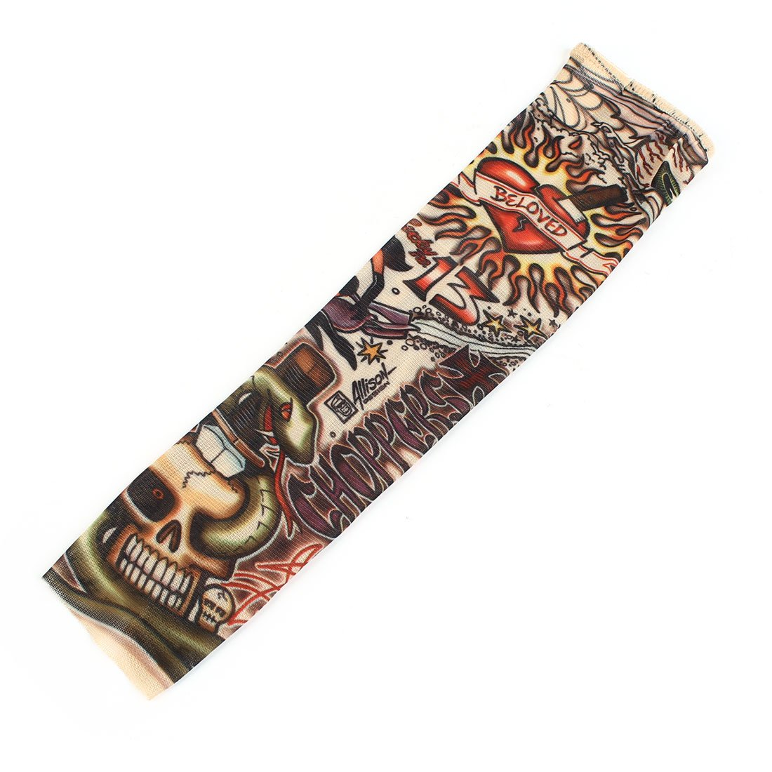 Heart Skull Stretchy Temporary Tattoo Arm Sleeve Stocking For Child