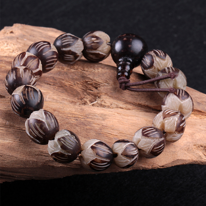 White bodhi seed tibetan buddhist prayer beads carve for How to carve a wooden ring
