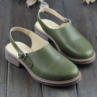 Shoes Woman Flat Pointed toe Slingbacks Genuine Leather Ladies Flat Shoes Women's Summer Footwear (1231 5)