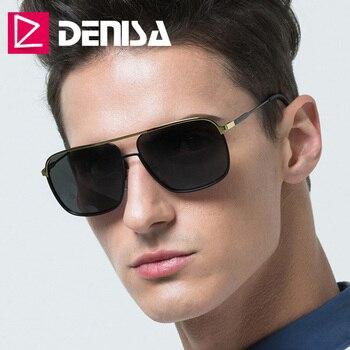 b78567db56 DENISA Anti-reflectante polarizado hombre gafas de sol con gafas de sol  caja 2019 nuevo gafas cuadradas UV400 Occhiali Da único Donna P1912