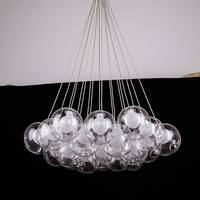 Nordic Modern LED Double Deck Glass Ball Pendant Lights G4 Bulb 12 15cm Glass Lampshade Hanging