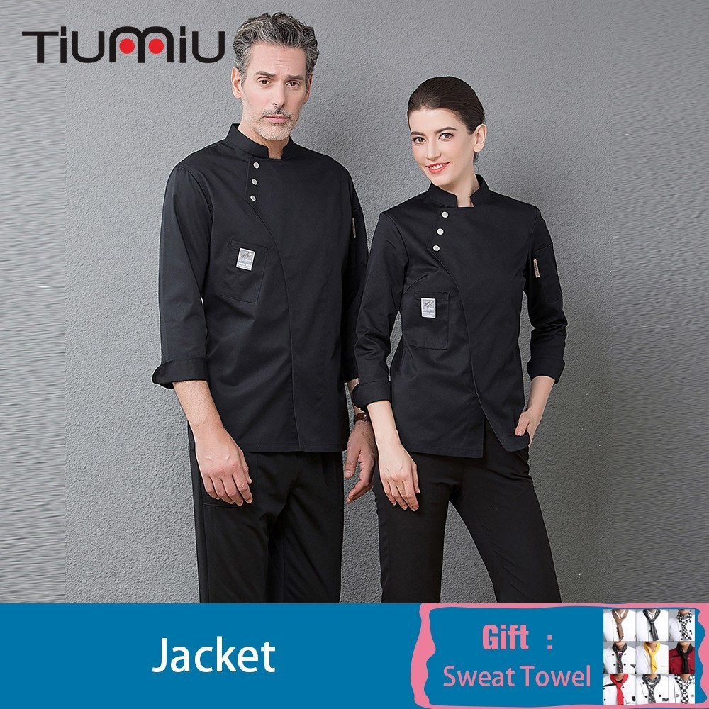 High Quality Chef Coat Uniform Unisex Long Sleeve Cook Waiter Wear Kitchen Cuisine Bakery Cafe Hotel Overalls Free Scarf Gift