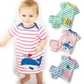 2016 del verano del bebé ropa de rayas historieta del bebé del mameluco del verano del bebé fijó suben la ropa del bebé sistema de la muchacha ropa