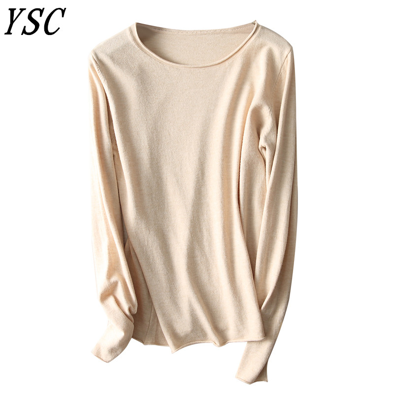 Wholesale price 2018 New style Women s Knitted Cashmere Sweater Curling Round collar plane Solid color