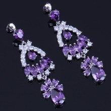 Delightful Huge Purple Cubic Zirconia White CZ 925 Sterling Silver Drop Dangle Earrings For Women V0335