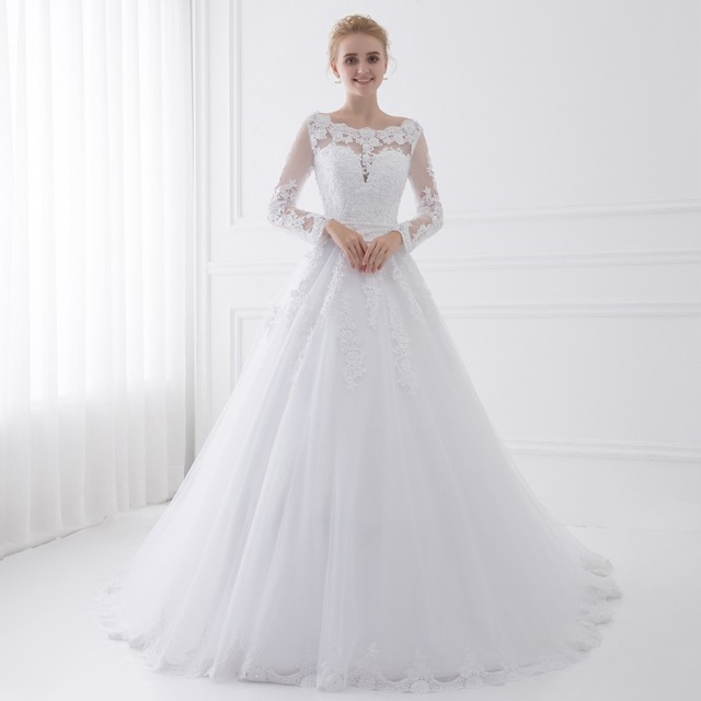 Long Sleeve Wedding Dresses Sheer Tulle Back Sexy Bride Dresses Wedding Gowns Pearls Princess