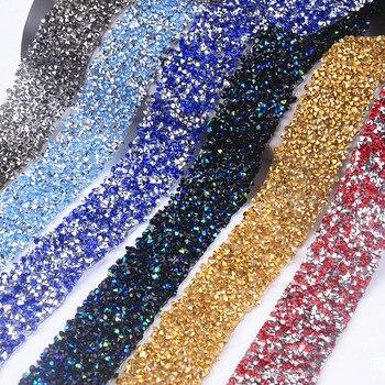 22b685ec8a0a7 1 Yardx3cm Reçine Rhinestone Trim Örgü Düzeltme Strass Kristal Örgü  Bantlama Gelin Boncuklu Aplike Elbiseler Için Rulo Içinde Takı