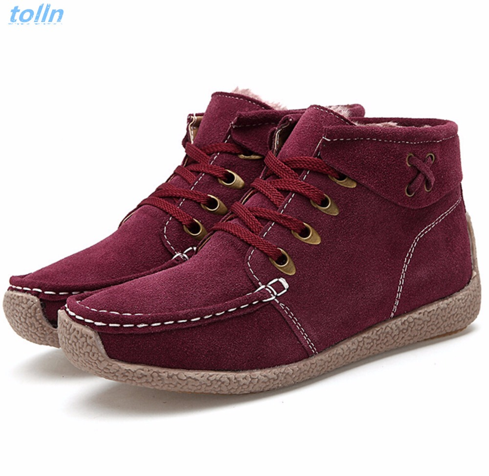 Woman Fashion Genuine Leather Ankle Boots Female Lace Up flats Platform Comfortable women casual Shoes Add wool warm snow boots front lace up casual ankle boots autumn vintage brown new booties flat genuine leather suede shoes round toe fall female fashion