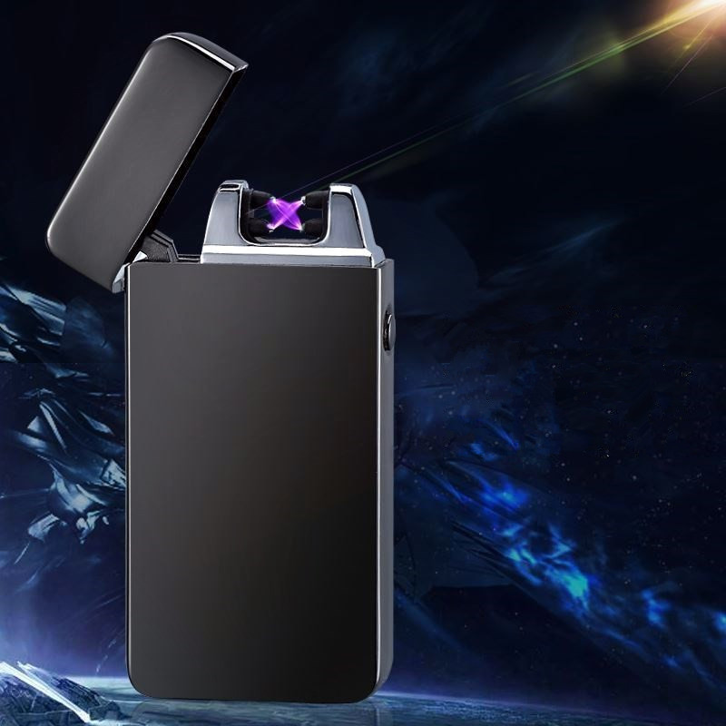 Dual Arc Cigarette Lighter USB Rechargeable Metal Lighter Windproof Flameless Plasma Torch Lighter Smoking Gifts Gadgets for Men|Cigarette Accessories| |  - title=