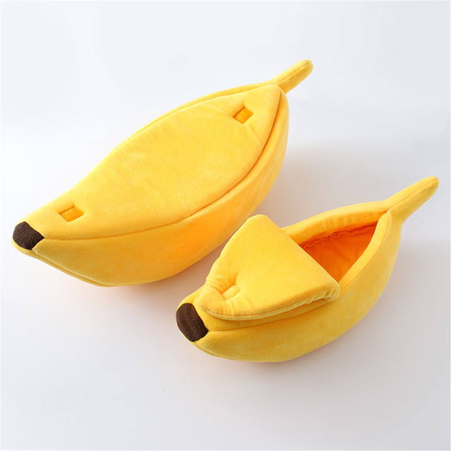 Banana Shape Pet Dog Cat Bed House Mat Durable Kennel Doggy Puppy Cushion Basket Warm Portable Dog Cat Supplies S/M/L/XL 2