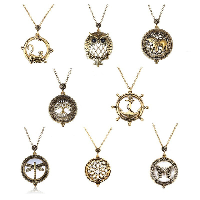 Vintage magnifying glass pendant necklace world map owl life tree vintage magnifying glass pendant necklace world map owl life tree elephant pocket watch time collar collier mozeypictures Image collections