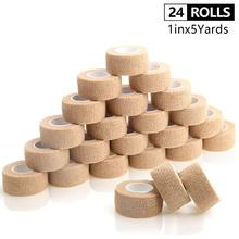 24 Rolls Self Adhesive Bandage Cohesive Bandage Sport Tape Pain Care Waterproof Non Woven Exercise Sports Tape Finger Tape 1 In