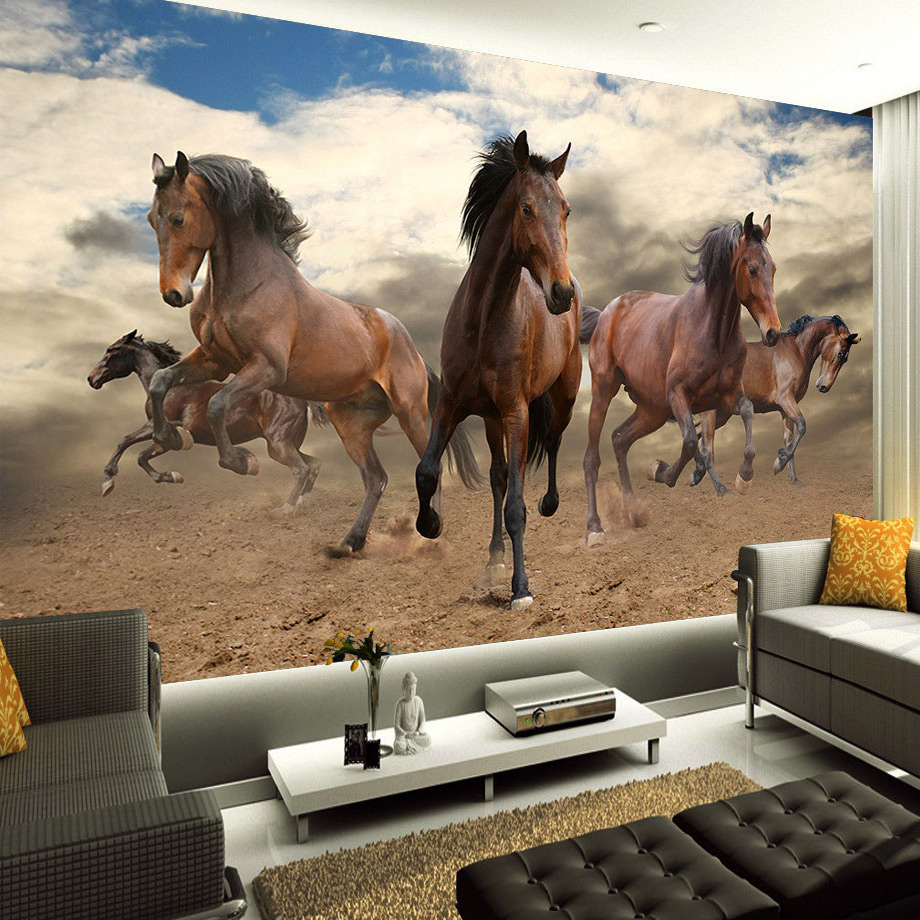 Custom 3D Mural Wallpaper Non-woven Stereoscopic Galloping Horse Home Decoration Wall Art For Living Room Bedroom Wallpaper Roll free shipping marble texture parquet flooring 3d floor home decoration self adhesive mural baby room bedroom wallpaper mural