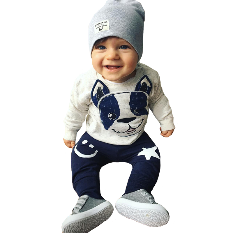 Baby Boy Clothing Set Christmas Animal Dog Kids Infant Clothes Autumn Cartoon T-shirt+Star Smile Face Pants Girl Clothing Sets 2pcs baby boy clothing set autumn baby boy clothes cotton children clothing roupas bebe infant baby costume kids t shirt pants