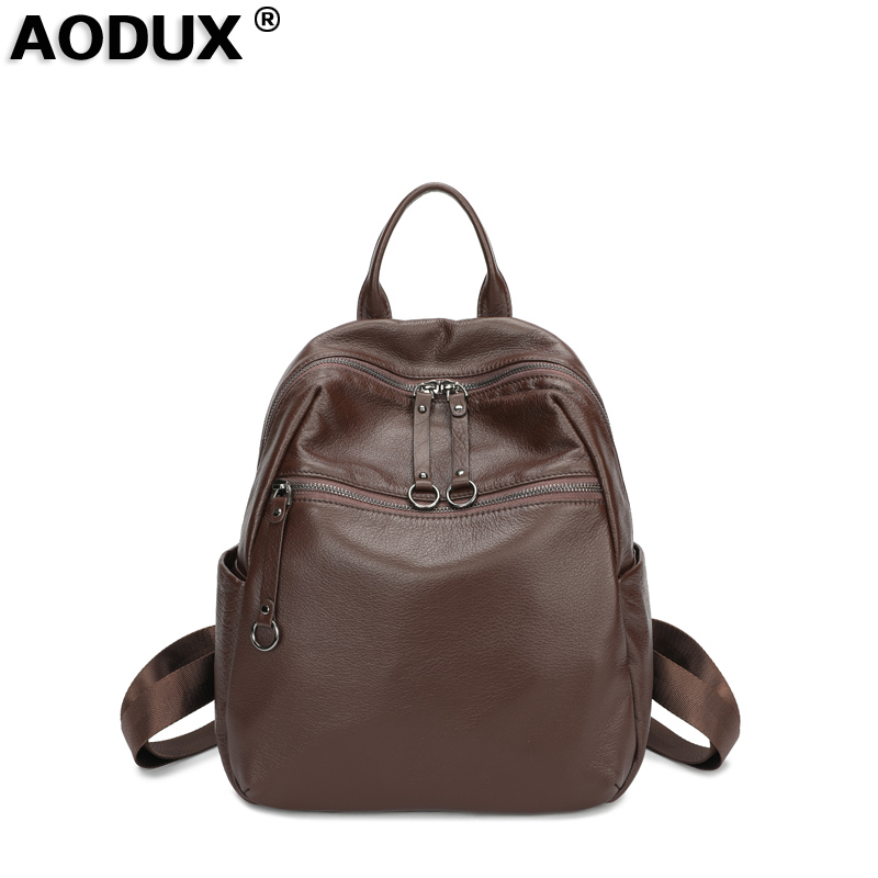 100 Soft Natural Italian Genuine Cow Leather Shoulder Women Backpack Ladies Coffee Black Cowhide Bag School