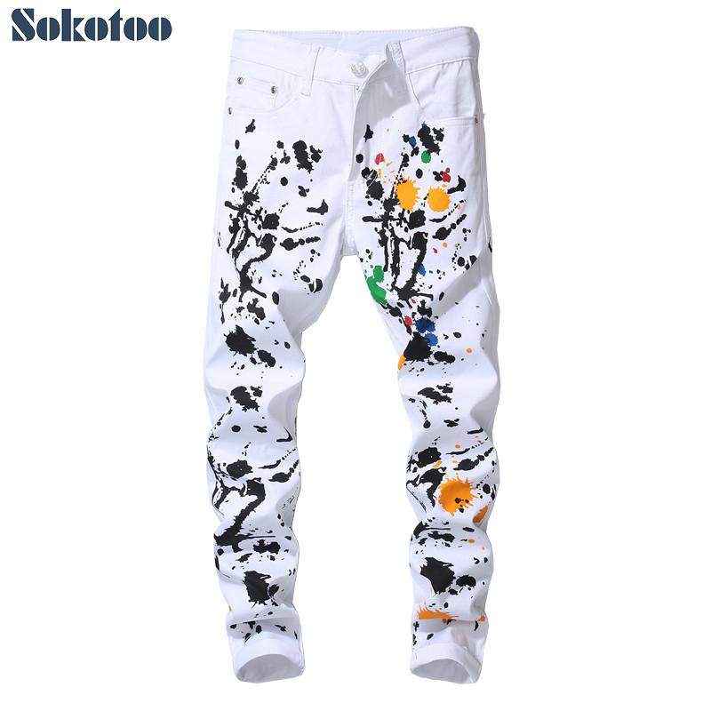 Men's Colored Ink Painted Printed White Jeans Slim Fit Stretch Pencil Pants