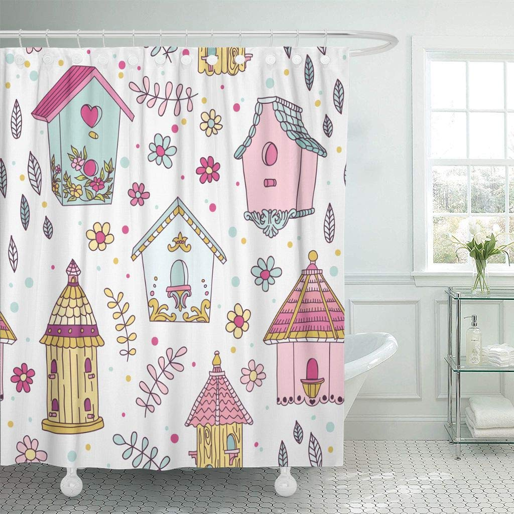 Us 18 73 25 Off Fabric Shower Curtain With Hooks Flower Cute Bird House In Doodle Spring Vintage Baby Beautiful Beauty Birthday In Shower Curtains