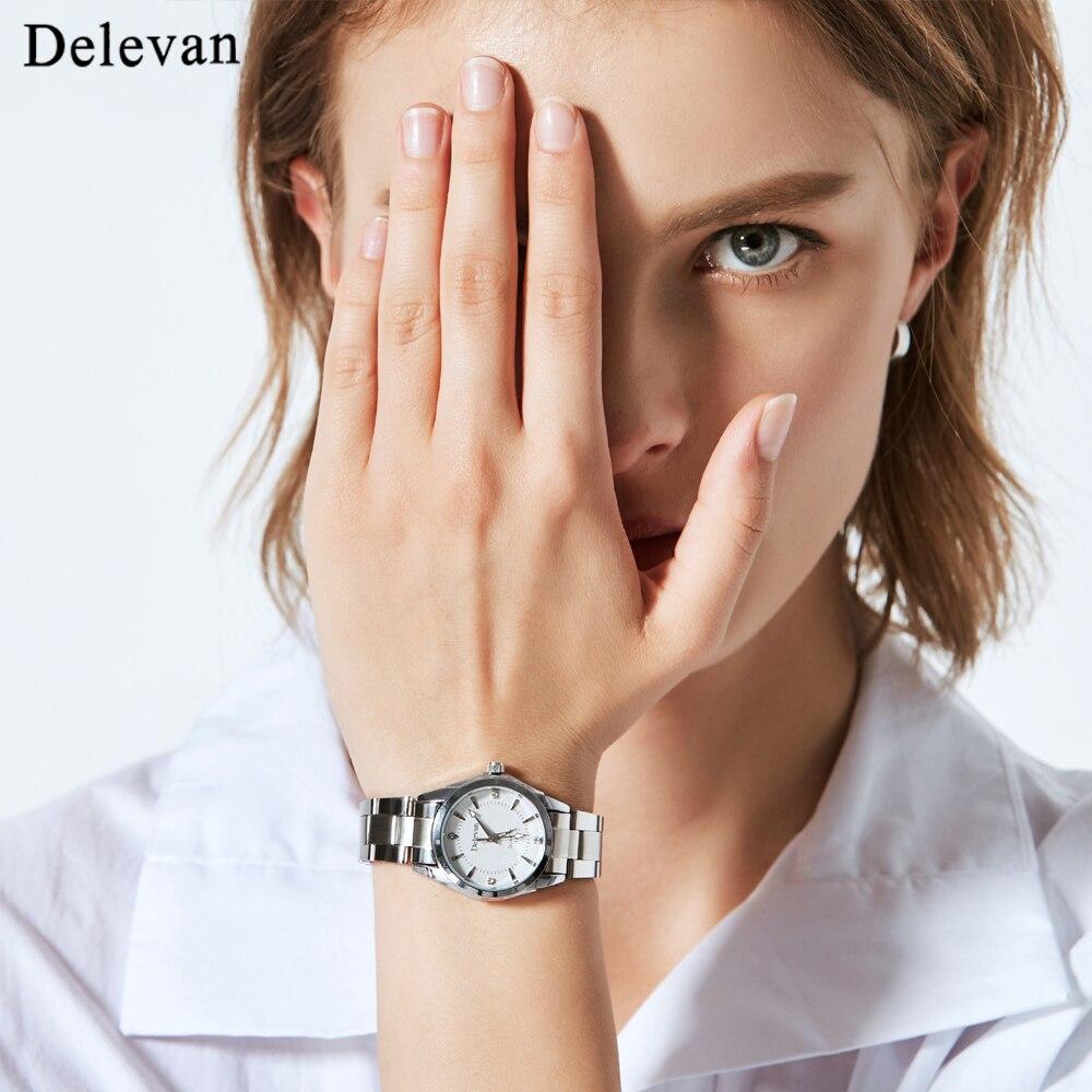 Delevan Women Watches Luxury Brand Fashion Quartz Ladies Rhinestone watch Dress waterproof Watch Casual Clock relogio feminino 1