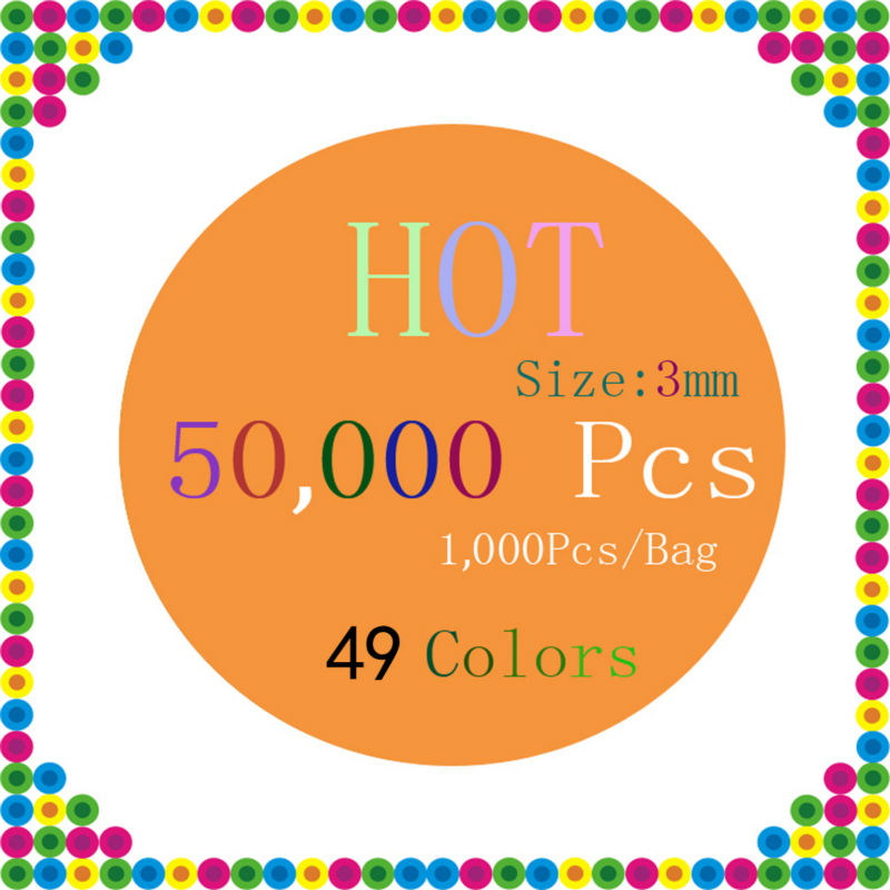 EVA 50 000 Beads Set 49 Colors 3mm Mini Hama Perler Fuse Beads 1000Bead Bag Color