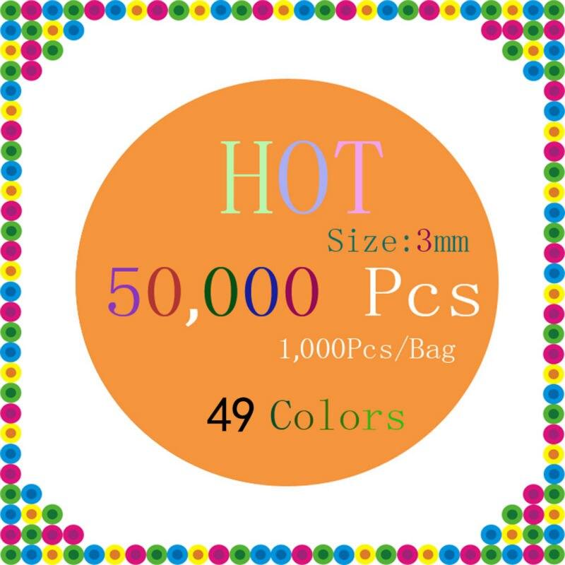 EVA 50,000 Kralen/Set 49 Kleuren 3mm Mini Hama/Perler/Zekering Kralen 1000 Bead/Tas /kleur Educatief Speelgoed Voor soorten Hand Made Activiteit-in Puzzels van Speelgoed & Hobbies op  Groep 1