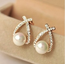 Nice shopping 2016 Fashion Gold Crystal Stud font b Earrings b font Brincos Perle Pendientes Bou