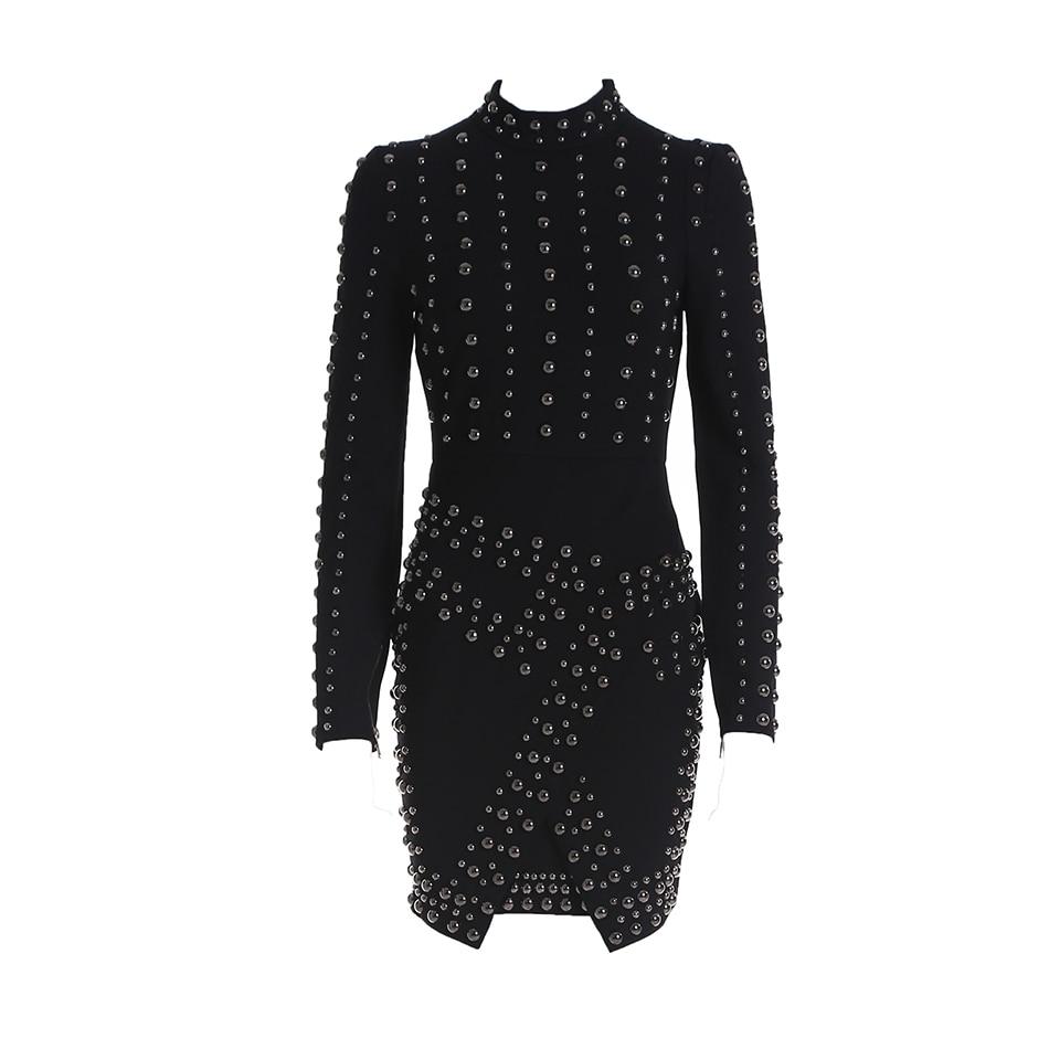 New Night Club Women Dress Autumn Black Bodycon Sexy Long Sleeve O Neck Beading Evening Party