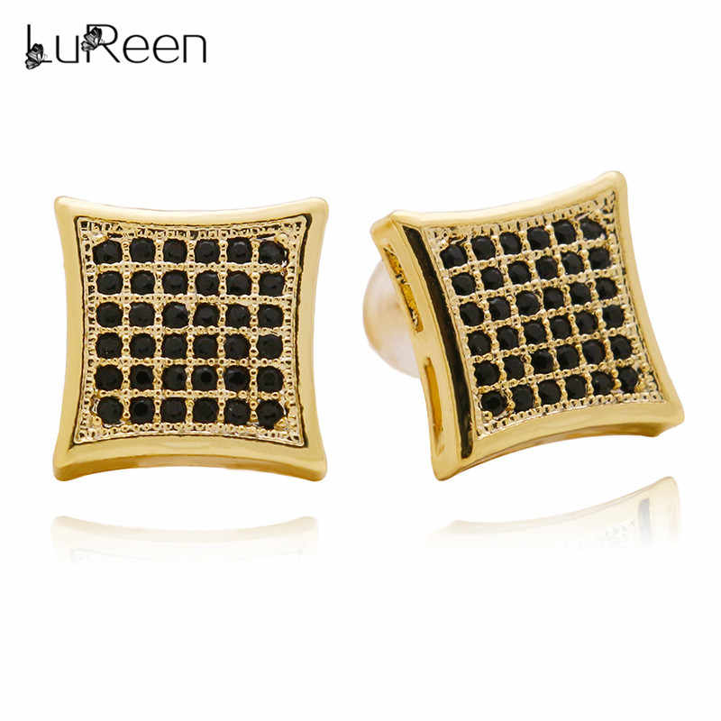 d9c400eda LuReen Hip Hop Iced Out Stud Earring For Women Men Geometric Micro Pave Cz  Square Earrings