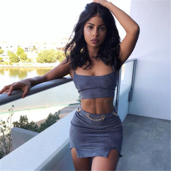 2018 arrival two pieces set women club wear clothing sexy velvet crop tops pencil skirt spaghetti strap hot summer outfits Skirt